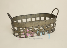 Oval Antique Distressed Style Shallow Basket